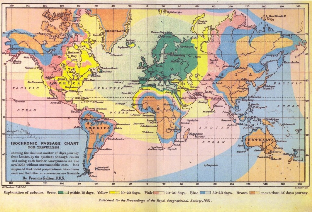 Francis Galton's Isochronic Passage Chart of 1881, one of the first of such maps, indicates the time necessary to travel from London to anywhere else in the world.