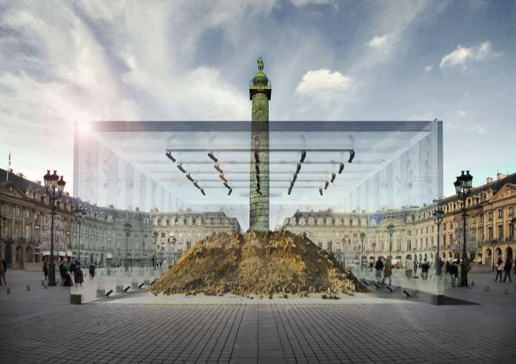 David Gissen's proposal for the reconstruction of the Mound of Vendôme (2012). Here the mound indexes the destruction of the Column of Vendôme in Paris, itself a reconstruction of Trajan's Column in Rome.