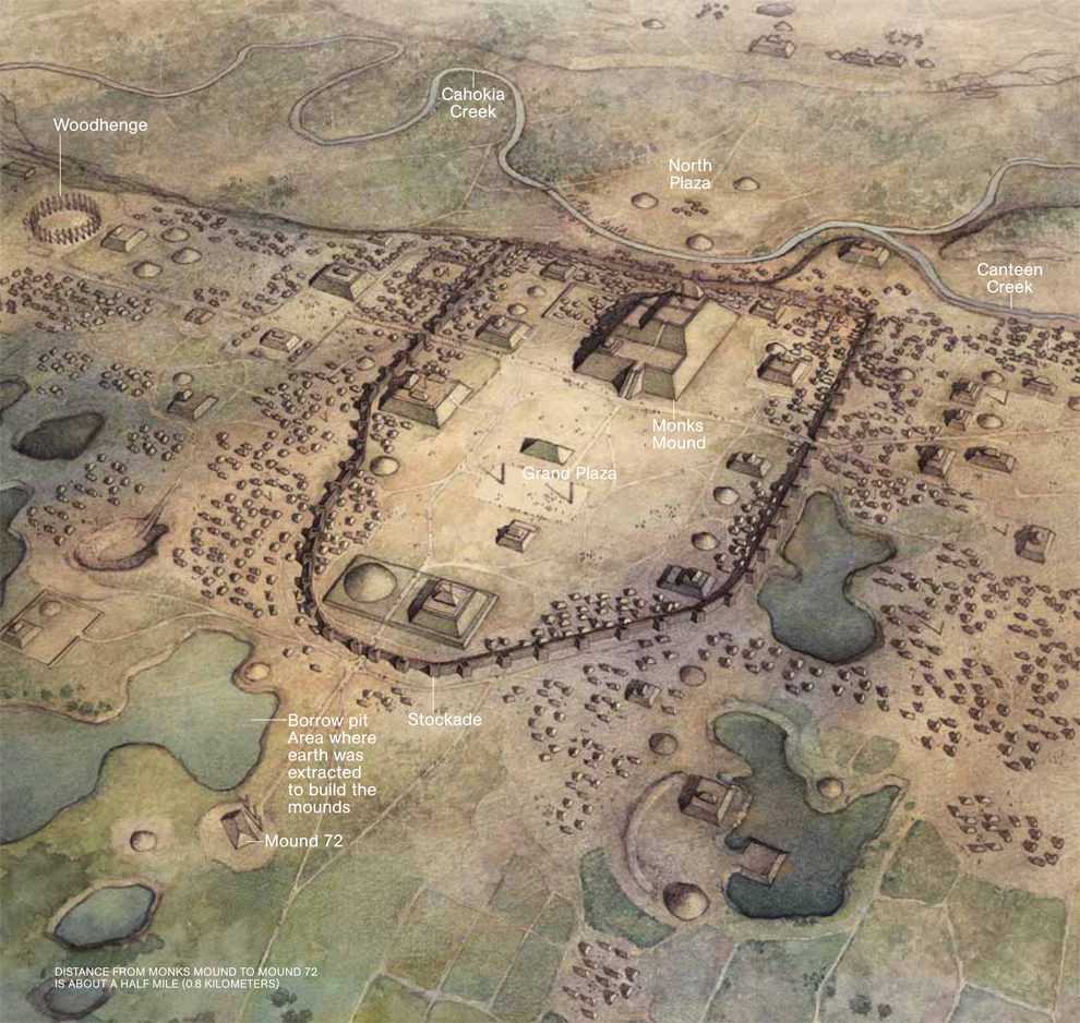 Map of Cahokia mound complex from National Geographic.