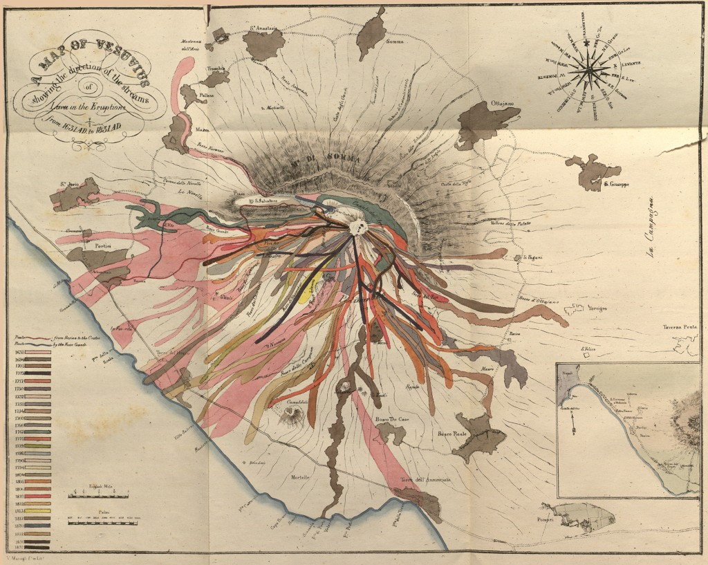 """John Richardson Auldjo's 1833 etching """"Map of Vesuvius: showing the direction of the streams of lava in the eruptions from 1631 AD to 1831 AD."""" More info at UMD's Romantic Circles."""